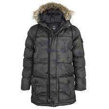 mens brave soul camouflage camo padded fur lined hood parka jacket