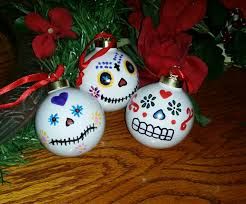 hand painted porcelain sugar skull ornaments set of three my