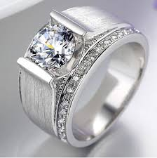silver ring for men handsome ring synthetic diamond 1 ct engagement sterling