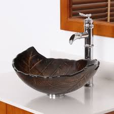 elite autumn leaves design tempered glass bathroom vessel sink