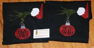 glittery grinch monogrammed ornament sleeve t shirt