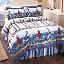 Blue And White Comforters Nautical Sailboat Lighthouses Anchors Coastal Blue White Comforter