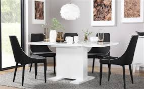 Black Extendable Dining Table Osaka White High Gloss Extending Dining Table With 6 Modena Black