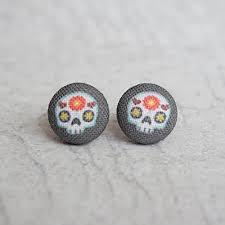 skyrim earrings white black simulated howlite triangle minimal dangle