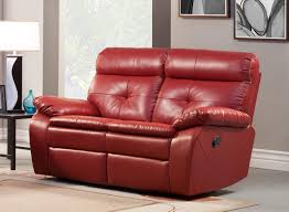 Brown Bonded Leather Sofa 1 759 00 Wallace 2pc Double Reclining Sofa Set In Red Bonded