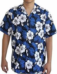 s island white flowers blue hawaiian aloha shirt at