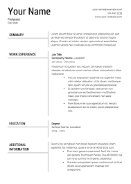 template for resumes free resume templates