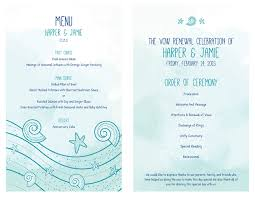 vow renewal program templates free vow renewal invitation suite sea shells starfish