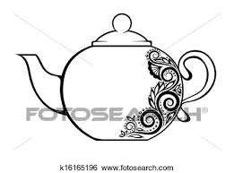 clip of beautiful teapot decorated with black and white