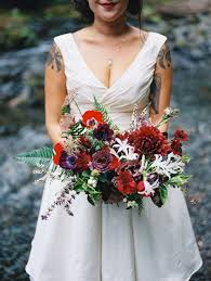 Red Wedding Bouquets Wahclella Falls Elopement With Burgundy Purple And Red Wedding