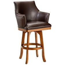 fauc brown leather swivel counter stool with light brown lacquered