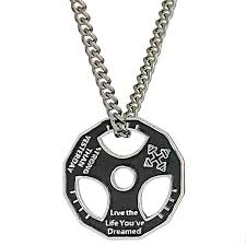 necklace steel images Stainless steel fitness gym weight plate motto pendant necklace jpg