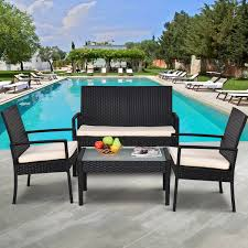 Garden Patio Furniture Sets Costway Rakuten Costway 4 Pcs Outdoor Patio Furniture Set Table