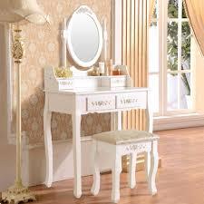Stool For Desk White Vanity Makeup Dressing Table Set W Stool 4 Drawer U0026 Mirror