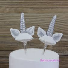 silver horn cupcake toppers with ears 6 pack birthday