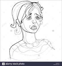 young severely crying human emotions sketch hand drawing