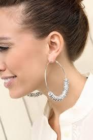 hoop clip on earrings tv inspired large hoop earrings with rhinestone charms