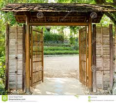 Japanese Style Pergola by Bamboo Door Stock Photo Image 56234783