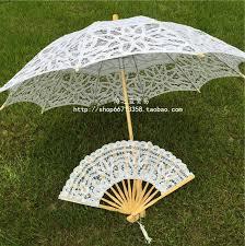 cheap wedding fans vintage princess wedding lace parasol and fan umbrella 2016 new