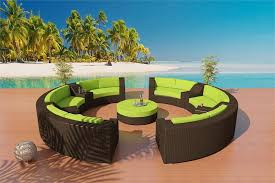 Outdoor Patio Furniture Sectionals Wicker Viro Fiber Sofa Sectional Patio Furniture Set 5 Java
