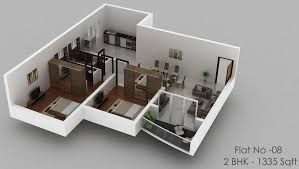 2bhk room and car parking 3d design holiday homes in ranikhet