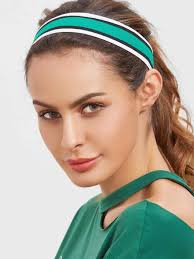 pre wrap headband striped elastic sheinsheinside green sporty hairstyles with