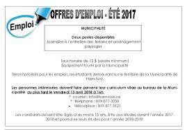 horaire bureau d emploi offres d emploi été 2018 municipalité de ham sud estrie québec