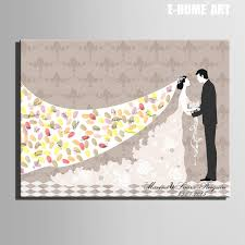 wedding gift diy fingerprint tree signature canvas painting groom wedding