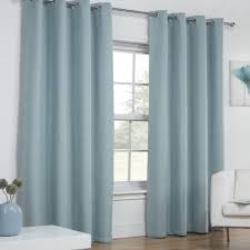 Duck Egg Blue Blackout Curtains Textured Woven Plain Thermal Blackout Linen Look Eyelet Grommet
