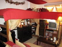 Bed And Living Uga Dorm Room Decor Corner To Corner Beds And Living Room Set Up