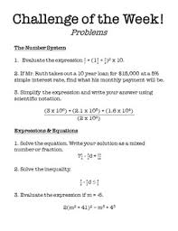 Challenge Rate 8th Grade Math Challenge Of The Week Problems By Middle School