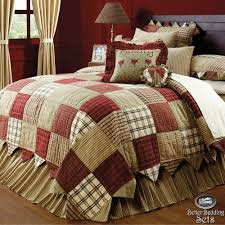 country red green patchwork twin queen cal king quilt bedding set