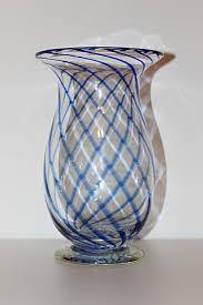 Antique Hand Blown Glass Vases Vintage Hand Blown Glass Vase Clear Blue Swirls 9 1 2