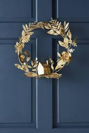 home leaves gold metal wreath