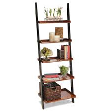 large varnished brown wooden bookcase with many shelves completed