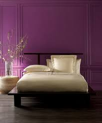 Dark Purple Walls Bedding Rounded Shape Rattan Bedside Table Dark Brown Wooden