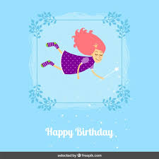 birthday card with cute fairy vector free download
