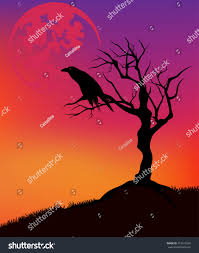 halloween vector background raven sitting on stock vector