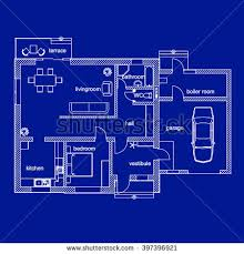 blueprint floor plan blueprint floor plan modern apartment architectural stock vector