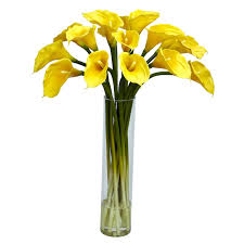 amazon com nearly natural 1251 cr calla lilly with cylinder silk