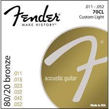 fender 70cl 80 20 bronze acoustic strings custom light