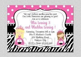 twins princess birthday invitation pink and black twins