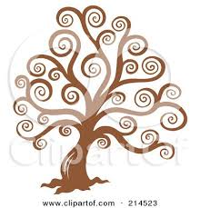 royalty free rf clipart illustration of a brown swirly tree