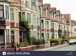 terrace of houses bordering victoria park cardiff south wales uk