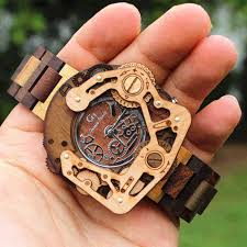 2013 unique high quality wood robot watches men with mechanical