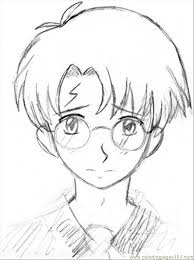 drawn anime harry potter pencil and in color drawn anime harry