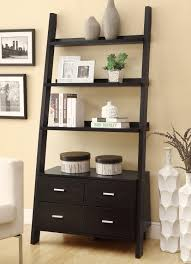 Ladder Shelf Coaster Bookcases Leaning Ladder Bookshelf With 2 Drawers Prime