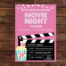 invitations for 13th birthday party pink girls movie night party invitation pink movie