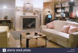 Lit Coffee Table Furniture Sittingroom Lounges Fireplace Stock Photos U0026 Furniture