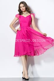 fuschia bridesmaid dress pretty fuchsia chiffon ruffled cap sleeve knee length
